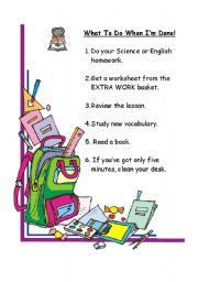 English Worksheets: what to do when I�ve done!