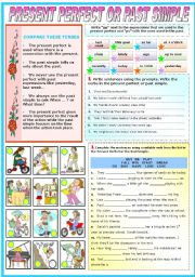 English Worksheet: PRESENT PERFECT OR PAST SIMPLE (TWO PAGES)