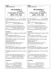 English Worksheet: Car parts - Rihanna�s song