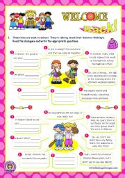 English Worksheet: Back to school  -  Summer Holidays: asking questions (1/2)
