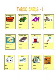 English Worksheet: TABOO CARDS PART-1