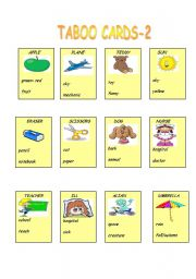 English Worksheet: TABOO CARDS PART -2