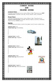 English Worksheets: Common and Proper Nouns Revision Exercise