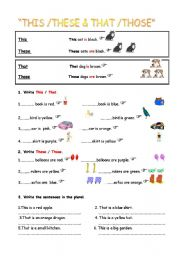 english worksheet this these that those. Black Bedroom Furniture Sets. Home Design Ideas