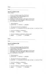 Printables Dia De Los Muertos Worksheets english teaching worksheets quizzes dia de los muertos quiz