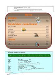 teaching esl restaurant vocabulary pdf