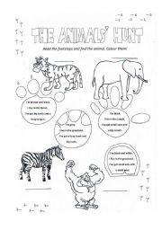 English Worksheets: Animals� Hunt