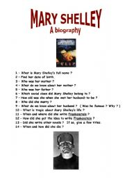 Mary Shelley´s biography - ESL worksheet by Lsa59