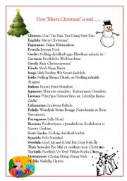 graphic about Merry Christmas in Different Languages Printable known as How \