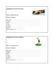 English Worksheet: Application form for boys and girls