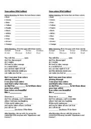 English Worksheets: Song: True Colors (Phil Collins)