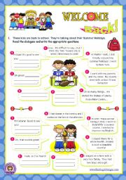 English Worksheet: Back to School  -  Summer holidays: Asking questions (2/2)