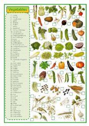 English Worksheet: Vegetables - matching exercise