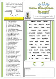 Fun Sheet Theme: Homophones