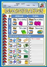 English Worksheets: DEMONSTRATIVES & CLASSROOM OBJECTS