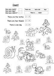 English Worksheets: how many animals