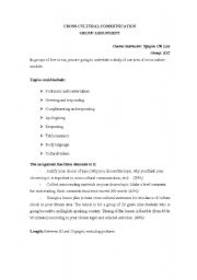 English Worksheets: Cross-cultural assignment
