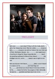English Worksheet: Twilight and verb tenses (present simple, continuous and past simple)