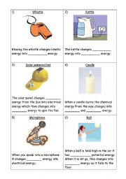 English Worksheet: Energy Transfers