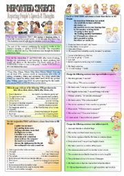 English Worksheets: REPORTED SPEECH � Reporting People�s Speech & Thoughts  with �WH- Questions, THAT, IF, & WHETHER�- (( definitions & 50 sentences to complete )) � elementary/intermediate � (( B&W VERSION INCLUDED ))