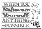 English Worksheets: slogan believe in yourself