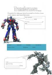 English worksheet: Transformers