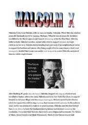 English Worksheet: Malcolm X