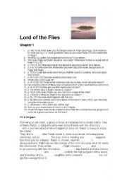 English Worksheet: Lord of the Flies Chapter One Questions