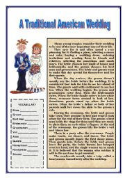 English Worksheet: Traditional American Wedding