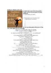 English Worksheets Fiddler On The Roof