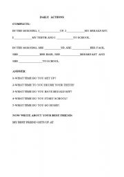 English Worksheet: DAILY  ACTIONS