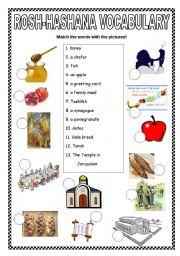 English worksheet: Rosh Hashana vocabulary