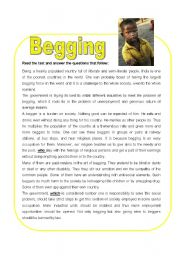 English Worksheets: Reading Comprehension about Begging