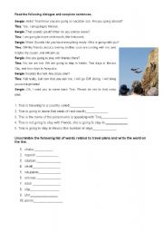 English Worksheet: Readings and unscramble wors related to travel plans