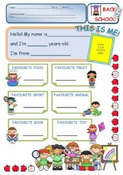 English Worksheet: Back to school - 1st day - Getting to know your students
