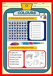 English Worksheet: COLOURS