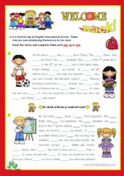 English Worksheet: Back to School series  -  Focus on grammar: am, is, are  (1/2)