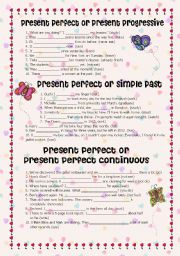 English Worksheet: Present perfect or present progressive, present perfect or simple past and present perfect or present perfect continuous + Answer Key