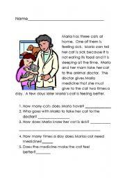 English Worksheets: Maria�s Cat
