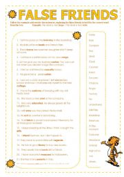 English Worksheet: False Friends (two pages with key)