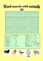 English Worksheets: wordseach with animals