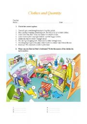 English Worksheet: Quantity and clothes