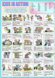 English Worksheet: KIDS IN ACTION (PRESENT SIMPLE OR CONTINUOUS) (B&W VERSION INCLUDED)