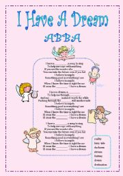 English Worksheet: I Have A Dream (I Believe in Angels) song + tasks