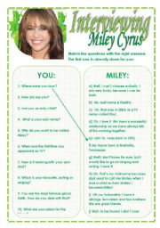 English Worksheet: Interviewing Miley Cyrus