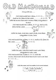 English Worksheet: Old MacDonald Song