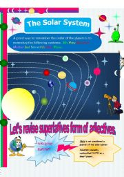 English worksheet: The solar system. How much do you know about it?. In this serie: SUPERLATIVE FORM OF ADJECTIVES // 6 pages (editable)