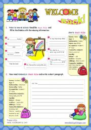 English Worksheet: Back to school   -  Prewriting (completing sentences) + Writing (a short paragraph) + Speaking activity (presenting their work)