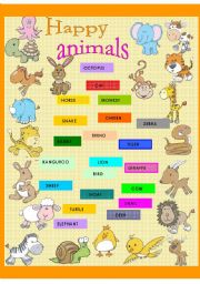 English Worksheets: Happy animals