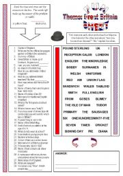 English Worksheet: Fun Sheet Theme: Great Britain